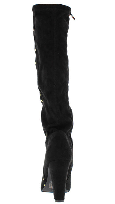Paula01 Black Row Stud Knee High Boot - Wholesale Fashion Shoes
