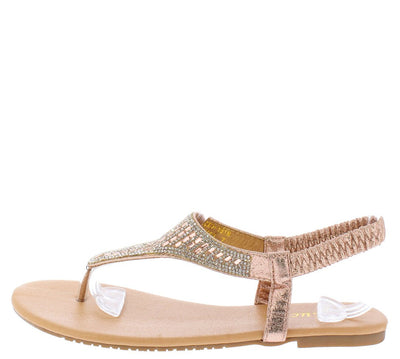 Lucy037 Champagne Sparkle Slingback Thong Sandal - Wholesale Fashion Shoes