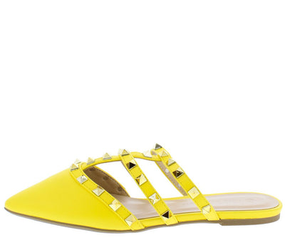 Pippa335b Yellow Cage Studded Pointed Toe Mule Flat - Wholesale Fashion Shoes