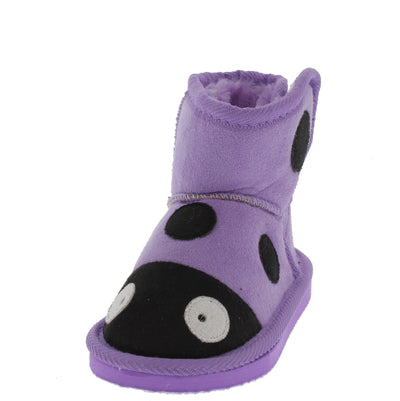 Rossi2 Purple Infant Velcro Ladybug Boot - Wholesale Fashion Shoes
