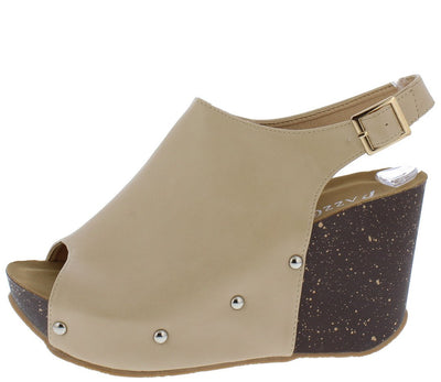 Sabanah11 Beige Peep Toe Rivet Covered Slingback Wedge - Wholesale Fashion Shoes