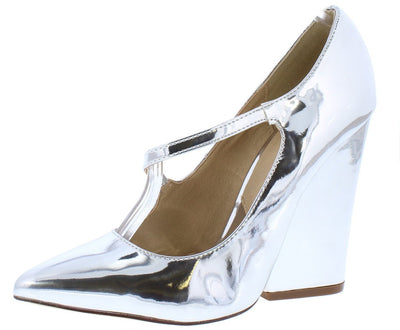 Amelia138 Silver Cross Strap Connected Chunky Heel - Wholesale Fashion Shoes