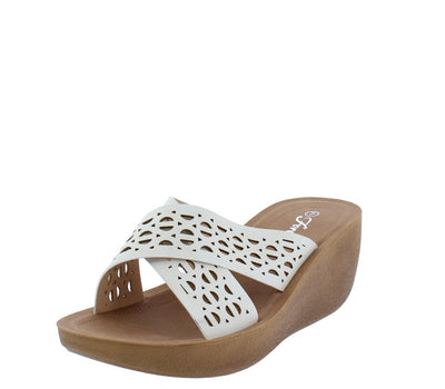 Wedge12 White Open Toe Cross Strap Laser Cut Mule Wedge - Wholesale Fashion Shoes