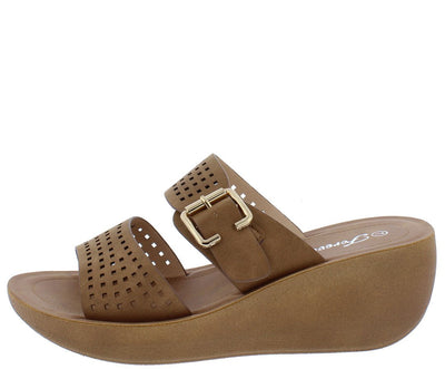 Wedge21 Tan Open Toe Laser Cut Buckle Strap Mule Wedge - Wholesale Fashion Shoes