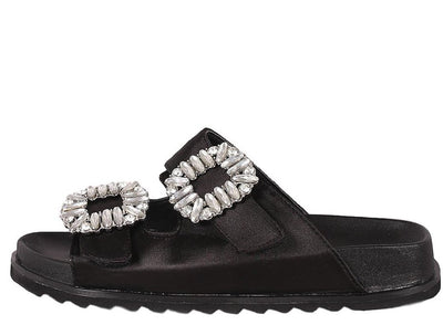 Alessandra02 Black Satin Open Toe Jewel Buckle Sandal - Wholesale Fashion Shoes