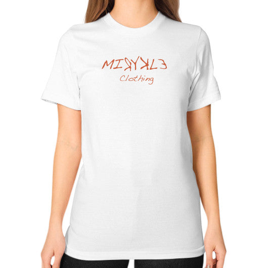 Unisex T-Shirt (on woman) White MIRYKLE Clothing Co.