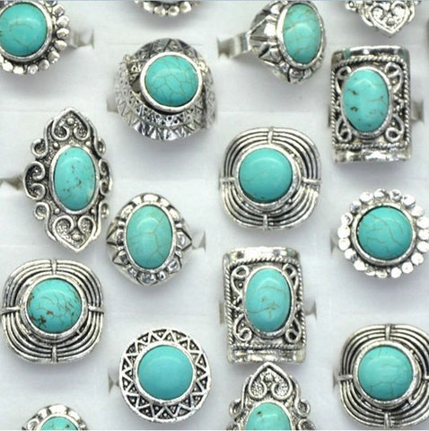 10pcs Wholesale Antique Silver Plated Vintage Adjustable Turquoise Stone Rings