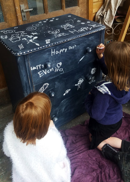 Vintage chalk board painted children's chest of drawers made to order
