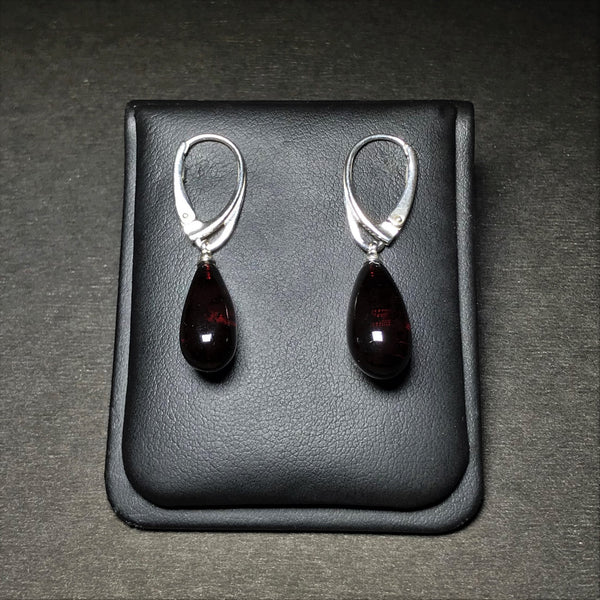 Cherry Amber Clip On Earrings