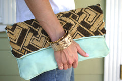 All Over Africa Mint Leather Oversized Clutch