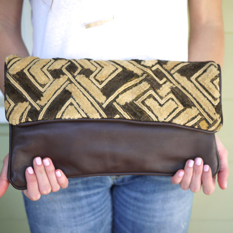 All Over Africa Brown Oversized Clutch