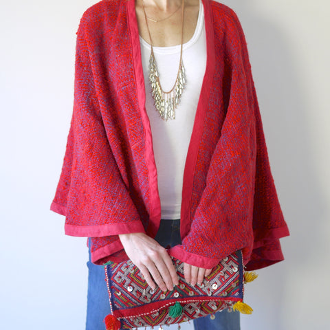 Handwoven Red Wool Cape