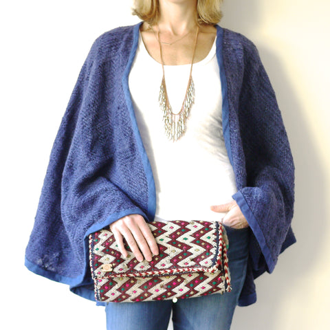Handwoven Blue Wool Cape 2