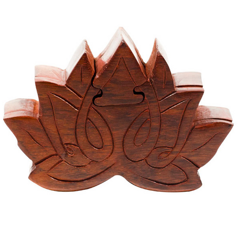 Sustainable Wooden Lotus Puzzle Box