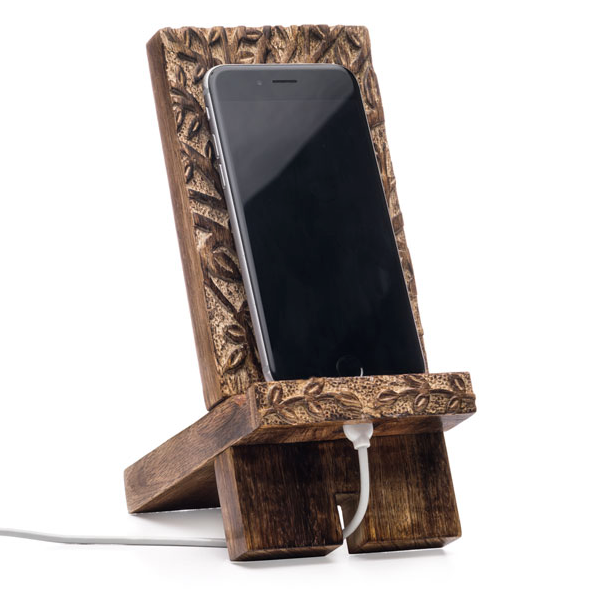 Carved Mangowood Phone Dock - Tree of Life Design