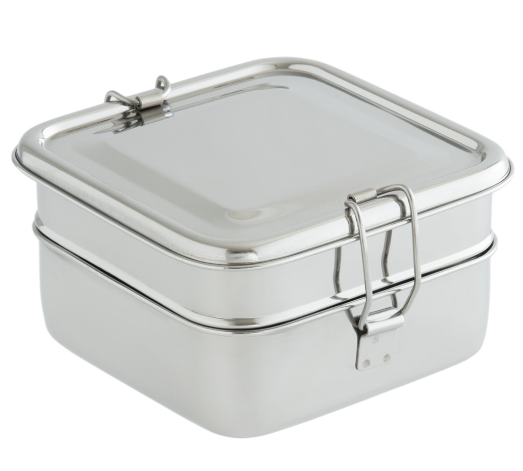 Square stainless steel lunchbox with no plastic