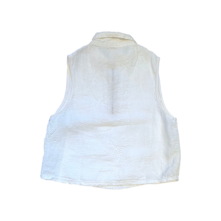 Sleeveless Zip Front Top • Linen Rayon • WHITE
