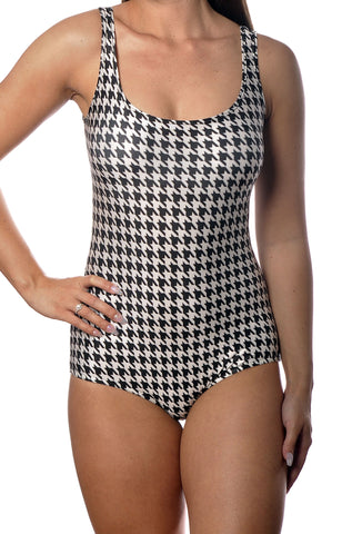 Black and White Houndstooth One-Piece Women's Swimsuit Design 5025