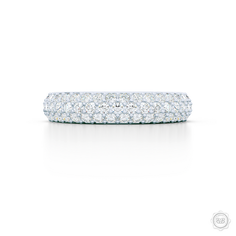 Three-row Diamond Eternity Wedding Band. Handcrafted in Bright White Gold or Platinum and Round Brilliant Diamonds. Free Shipping for All USA Orders. 30-Day Returns | BASHERT JEWELRY | Boca Raton, Florida