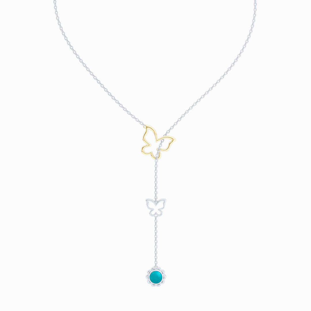 Sterling Silver Lariat Necklace. Pull-through Butterfly Accent. Silver Flower Drop adorned with a genuine Sleeping Beauty Turquoise or gemstone of your choice.  Free Shipping to all USA. 15 Day Returns. BASHERT JEWELRY | Boca Raton, Florida