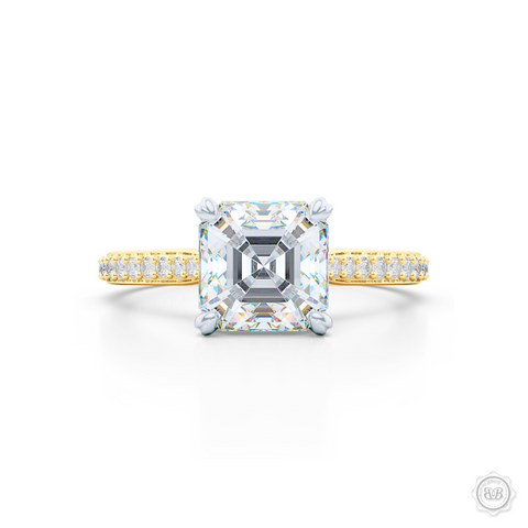 Two-tone gold, classic Four-Prong Asscher Cut Diamond Solitaire Engagement Ring. Handcrafted in Yellow Gold and Platinum crown. Elegantly Tapered Bead-Set Diamond Shoulders.  GIA Certified Asscher cut Diamond.  Free Shipping USA. 30-Day Returns | BASHERT JEWELRY | Boca Raton, Florida.