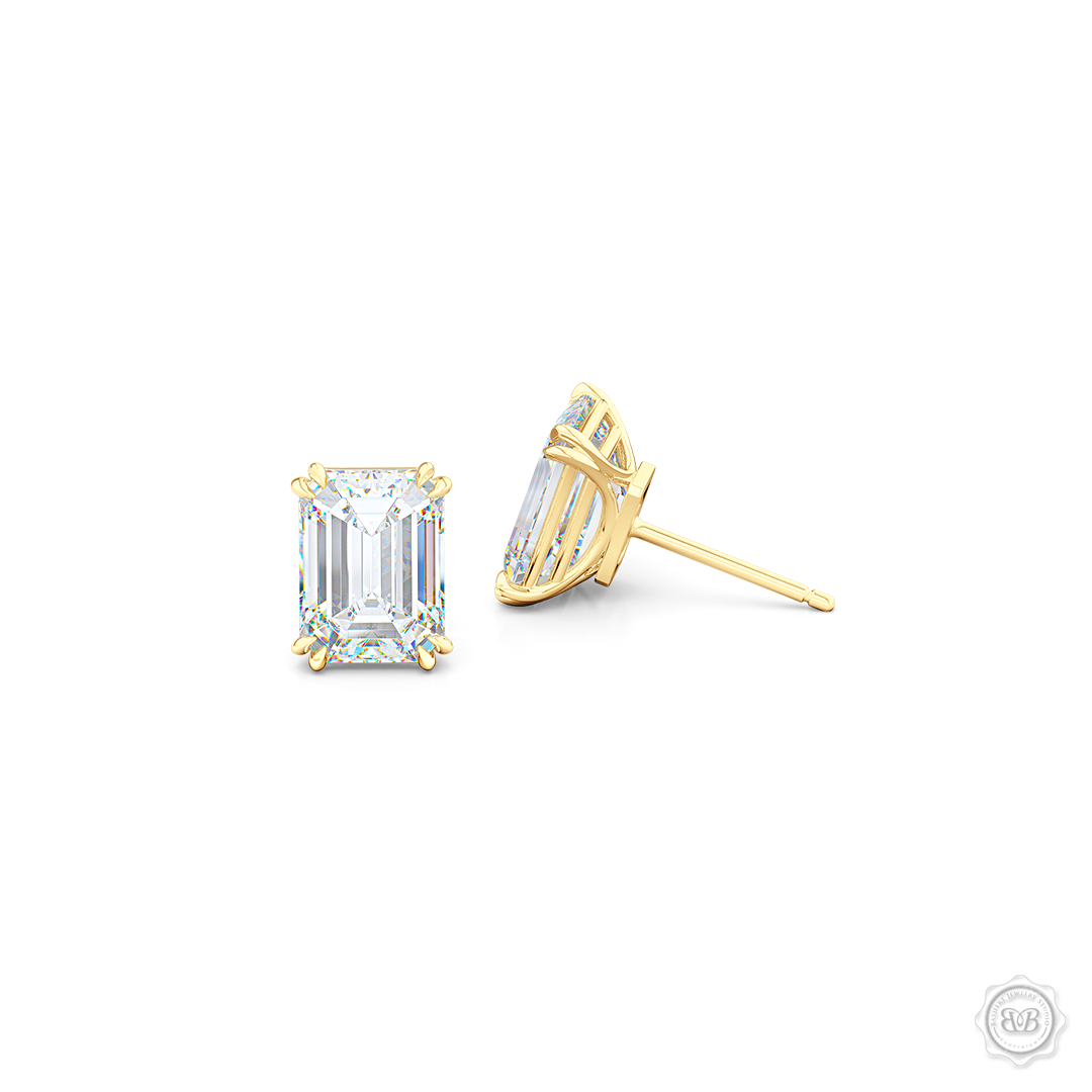 Classic Emerald cut Diamond Stud Earrings. Handcrafted in Classic Yellow Gold. Find The Perfect Pair for Your Budget. Moissanite and Lab-Grown Diamonds options available! Free Shipping on All USA Orders. 30-Day Returns | BASHERT JEWELRY | Boca Raton, Florida.