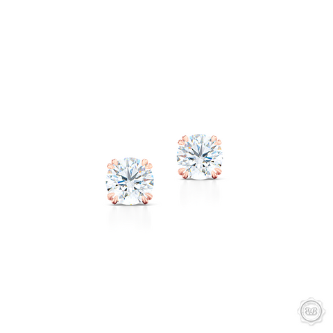 Classic Round Brilliant cut Diamond Stud Earrings. Handcrafted in Romantic Rose Gold. Find The Perfect Pair for Your Budget. Moissanite and Lab-Grown Diamonds options available! Free Shipping on All USA Orders. 30-Day Returns | BASHERT JEWELRY | Boca Raton, Florida.