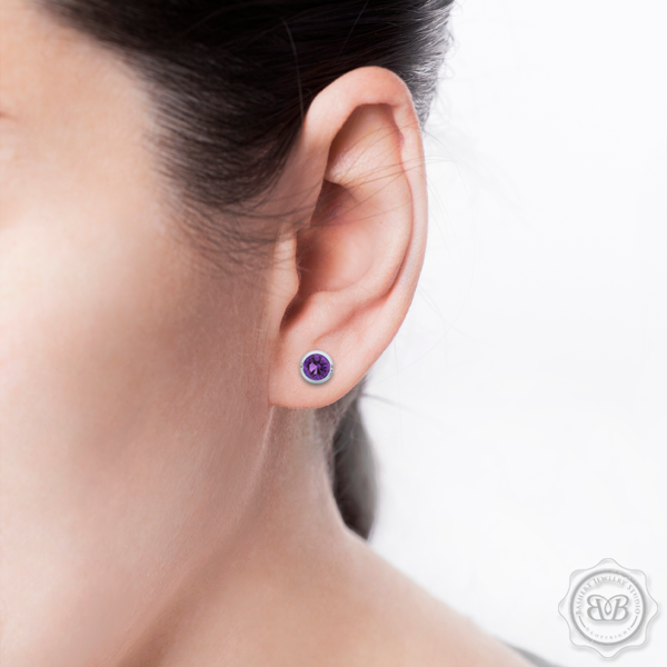 Classic Martini Stud Earrings with a modern twist. Handcrafted in Sterling Silver and Lilac Amethysts. Find The Perfect Pair for Your Budget. Make it Personal - Choose Your Gemstones! Free Shipping on All USA Orders. 30-Day Returns | BASHERT JEWELRY | Boca Raton, Florida.