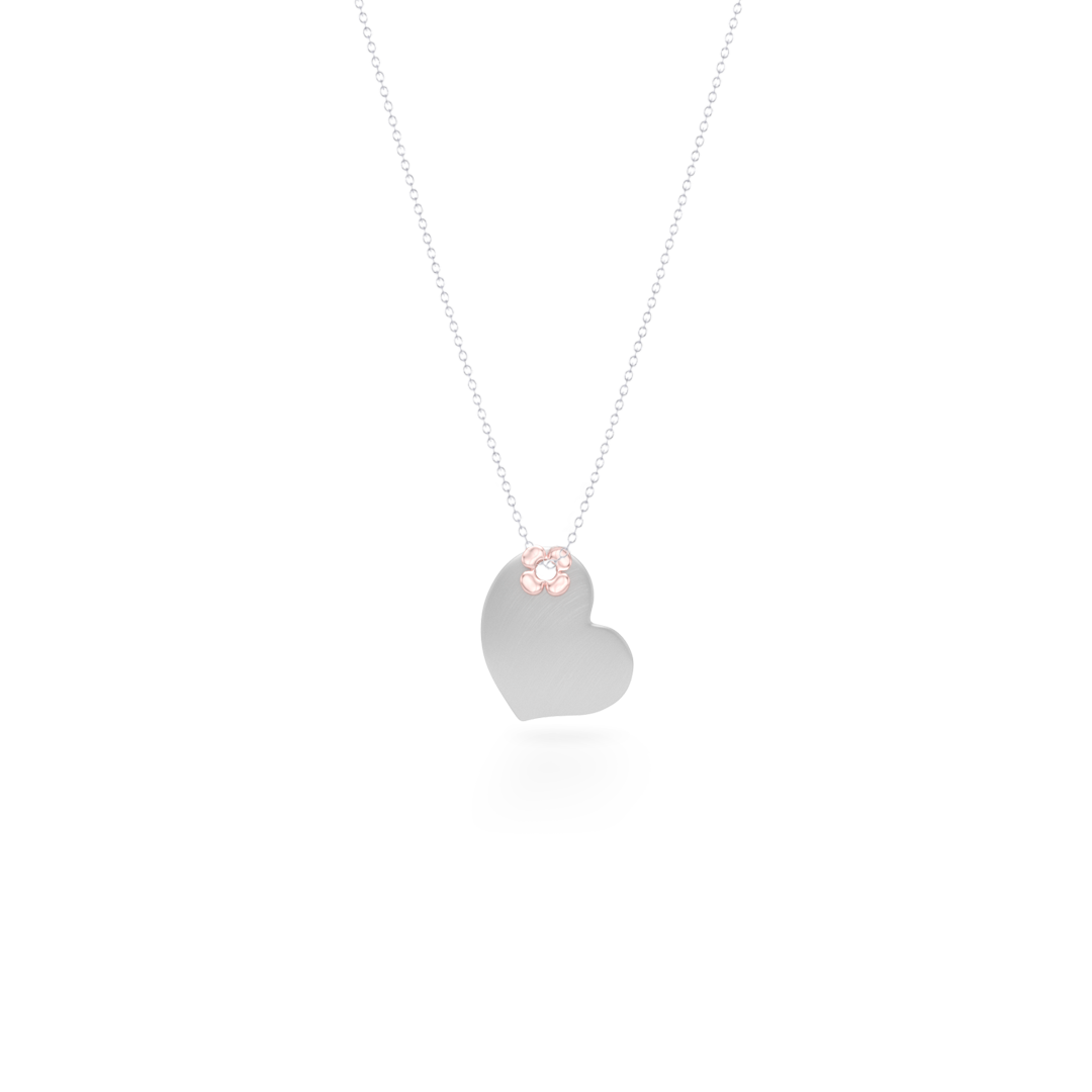 Two-tone gold Heart Pendant Necklace. Hand-fabricated in sustainable. solid White and Rose Gold. Lucky-clover-flower accent. Free Shipping to all USA. 15 Day Returns.  BASHERT JEWELRY | Boca Raton, Florida