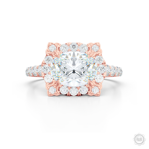 East-West Oval Diamond Halo Engagement Ring. Handcrafted in Romantic Rose Gold. GIA Certified Oval Diamond. Vintage-inspired lines with a unique flower prong accents. Free Shipping USA. 30-Day Returns | BASHERT JEWELRY | Boca Raton, Florida