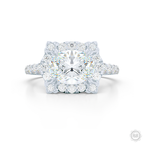 East-West Oval Diamond Halo Engagement Ring. Handcrafted in Precious Platinum or White Gold. GIA Certified Oval Diamond. Vintage-inspired lines with a unique flower prong accents. Free Shipping USA. 30-Day Returns | BASHERT JEWELRY | Boca Raton, Florida