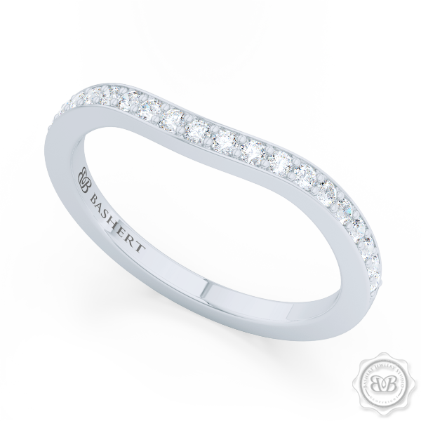Elegantly Curved Diamond Wedding Band. Classic Bead-Set Diamonds. Handcrafted in Precious Platinum or White Gold. Free Shipping All USA Orders. 30Day Returns | BASHERT JEWELRY | Boca Raton, Florida