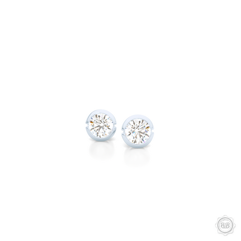 Elegant Round Stud Earrings. Crafted in White Gold. Round Brilliant Diamonds. Moissanite. Lab-grown Diamonds. Free Shipping on All USA Orders. 30-Day Returns | BASHERT JEWELRY | Boca Raton, Florida.