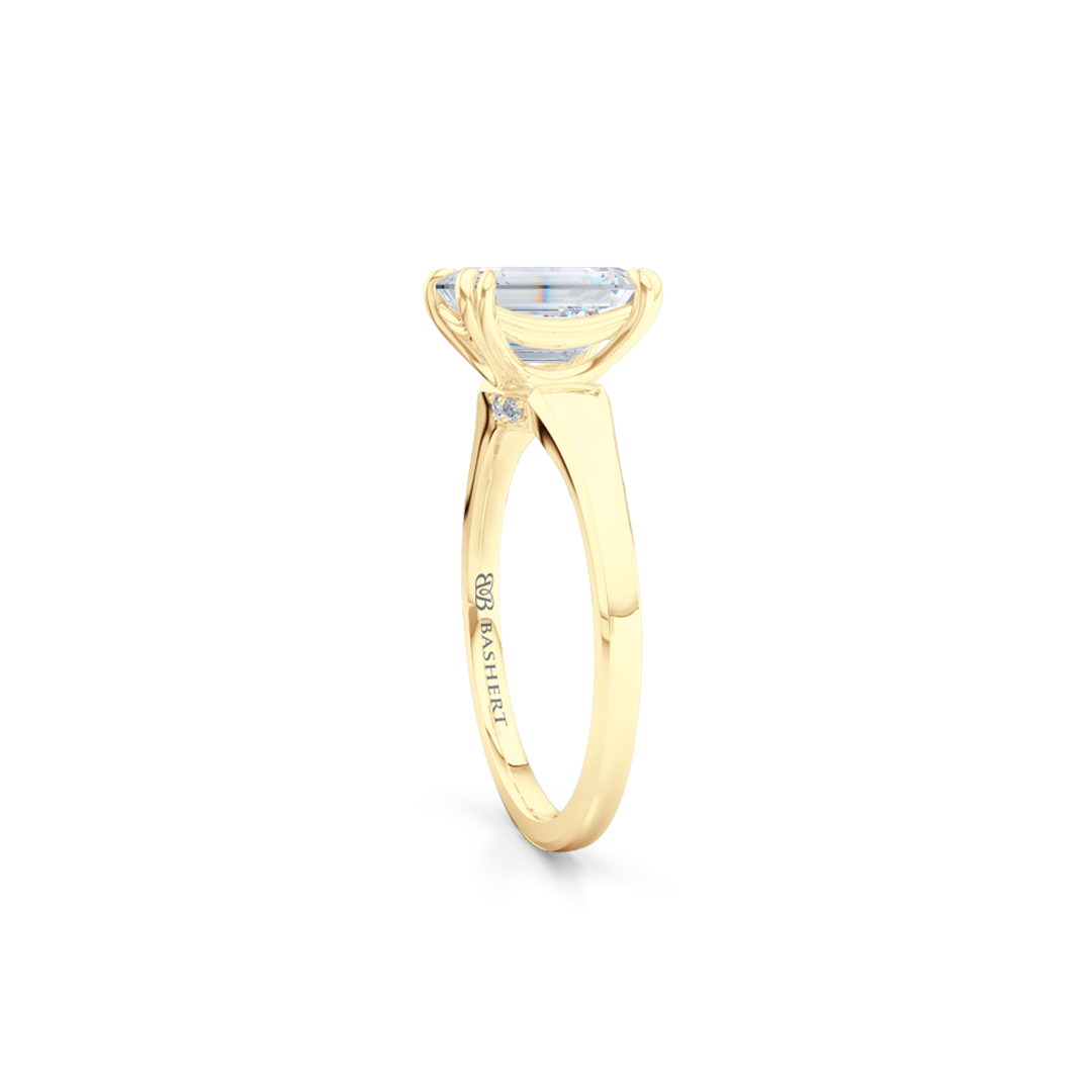 Classic, Emerald Cut Diamond Solitaire Ring. Hand-fabricated in sustainable, solid Yellow Gold and GIA certified Emerald Cut Diamond.  Free Shipping to all US orders. 15 Day Returns | BASHERT JEWELRY | Boca Raton, Florida