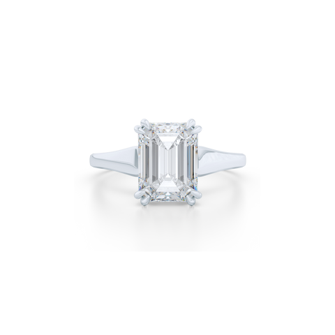 Classic, Emerald Cut Moissanite Solitaire Ring. Hand-fabricated in sustainable, solid White Gold and Forever One Charles & Colvard Moissanite.  Free Shipping to all US orders. 15 Day Returns | BASHERT JEWELRY | Boca Raton, Florida