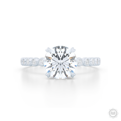 Classic Four-Prong Round Solitaire Engagement Ring Crafted in White Gold or Platinum. Dazzling Bezel-Set Caviar Ring Shoulders. GIA Certified Diamond.  Free Shipping USA 30-Day Returns | BASHERT JEWELRY | Boca Raton, Florida