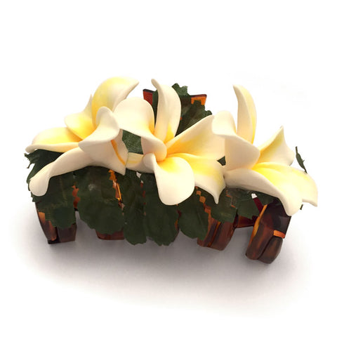 Plumeria Butterfly Hairclip