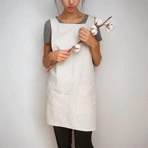 Linen Pinafore - Cross Back Apron