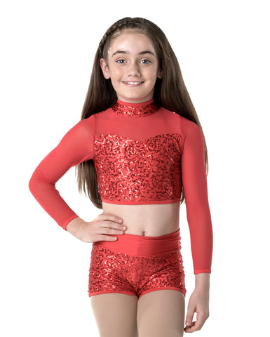 Studio 7, Downtown Long Sleeve Crop Top, (3 Colours) Childs, CHCT10