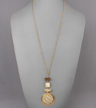 Multi Shape Pendant Necklace in Brown/Cream