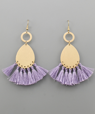 Teardrop & Tassel Earrings in Lavender