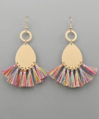 Teardrop & Tassel Earrings in Multi