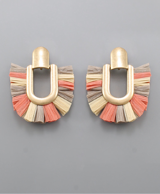 Raffia DoorKnocker Earrings  in Coral