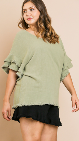 Sharon Ruffle Sleeve Top in Sage (Sizes XL-2X)
