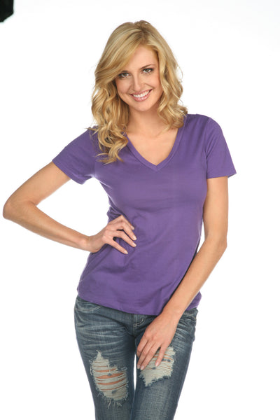 Women's Sheer Jersey Deep V Neck-wildfire