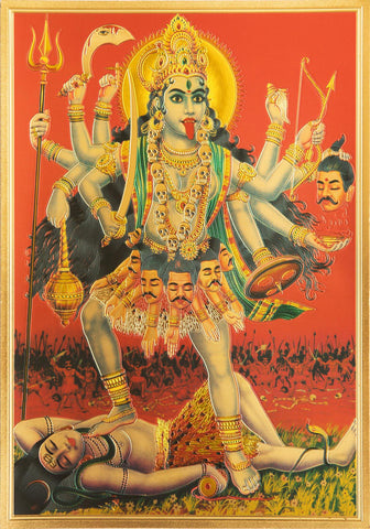 The Bhadra kali Maa Golden Poster , Poster - Zevotion, OnlinePrasad.com