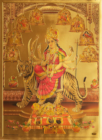 The  Nava Durga Golden Poster , Poster - Zevotion, OnlinePrasad.com