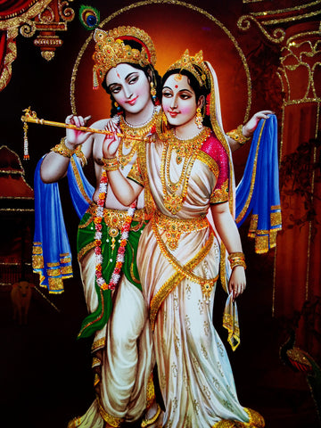 Poster Of Radha Krishna In White With Gold Detailing , Poster - J.B. Khanna, OnlinePrasad.com