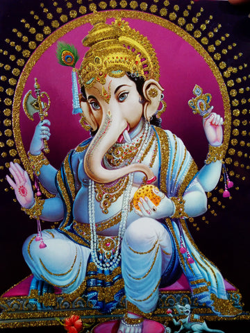 Poster Of Ganesha In Blue With Gold Detailing , Poster - J.B. Khanna, OnlinePrasad.com