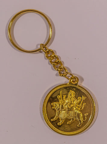 The Durga Mata In Gold Key Chain , Key chain - Zevotion, OnlinePrasad.com